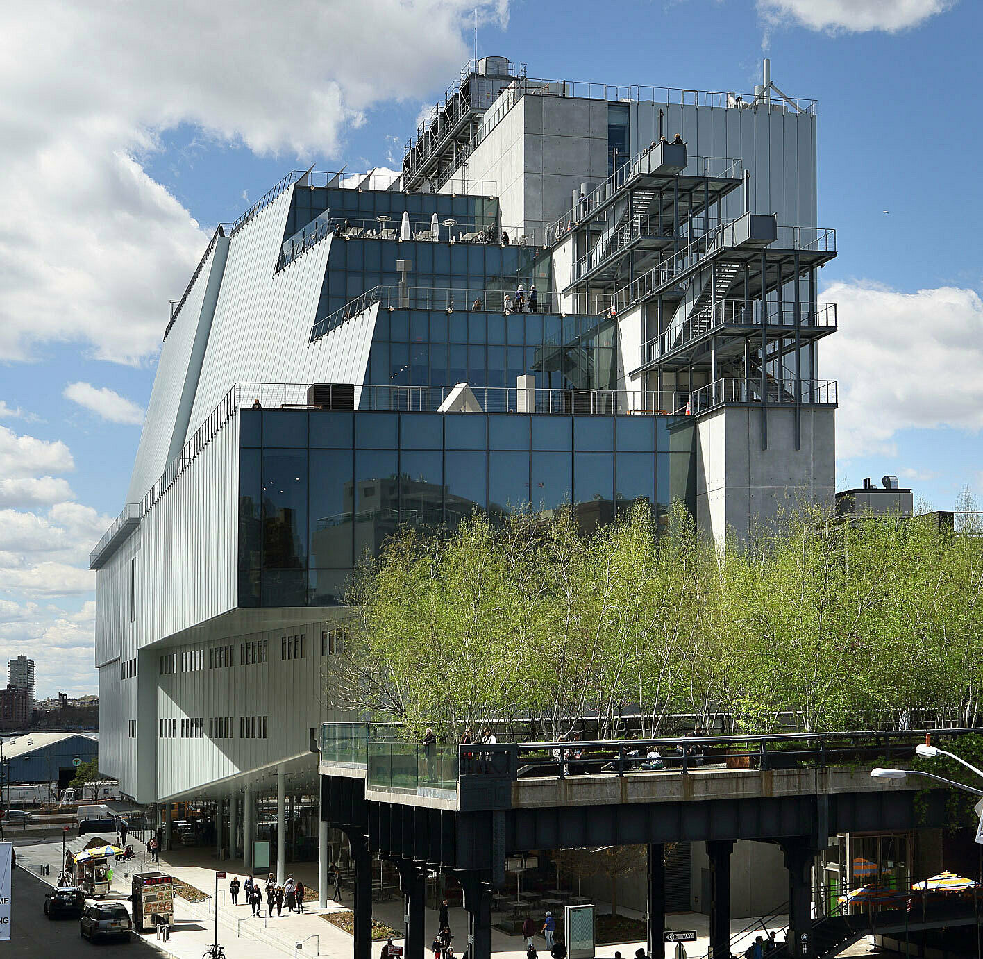 The Whitney Museum building with the High Line park in front of it