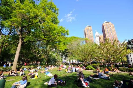 Union Square sunbathing